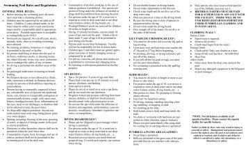 Grand bel ii condominium swimming pool rules and regulations - Rules and regulations of swimming pool ...