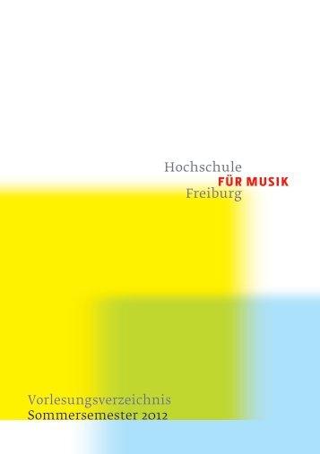 Vorlesungsverzeichnis Sommersemester 2012 - Hochschule für ...