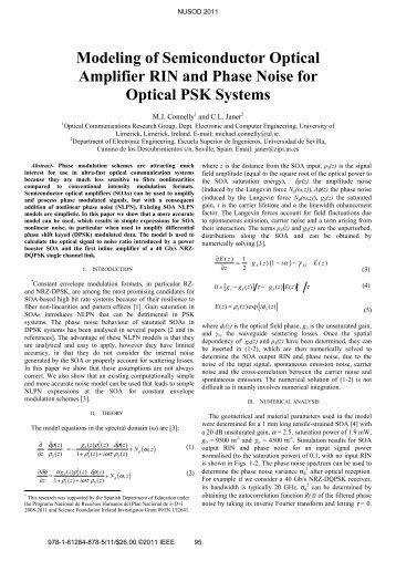 Modeling of Semiconductor Optical Amplifier RIN and Phase Noise ...
