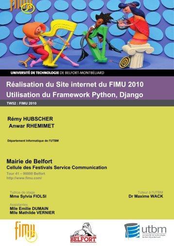 Réalisation du Site internet du FIMU 2010 Utilisation du Framework ...