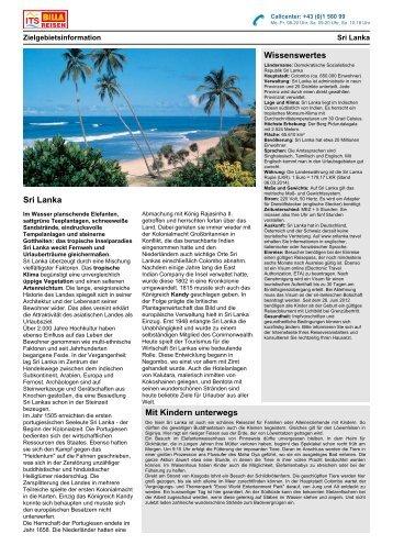 Zielgebietsinformation Sri Lanka - ITS BILLA Reisen