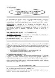 conseil municipal du 6 mars 2012 compte rendu sommaire - Joeuf