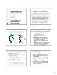 Lecture 8 Protein Structure Prediction (II): Fold Prediction ...