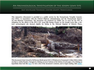 An Archaeological Investigation of the Joseph Lewis Site - Cultural ...
