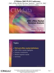 CIMdata 2002 PLM Conference 2001 cPDm Market Revenue Analysis
