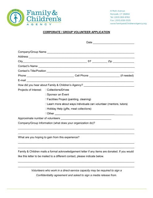 Corporate / Group Volunteer Application - Family ...