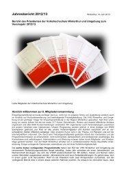 Jahresbericht 2012/13 - bei der VHS Winterthur