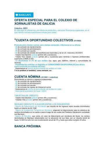 oferta especial para el colexio de xornalistas de galicia *cuenta ...