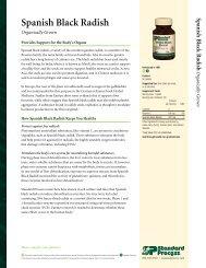 Spanish Black Radish Product Detail Sheet - Standard Process