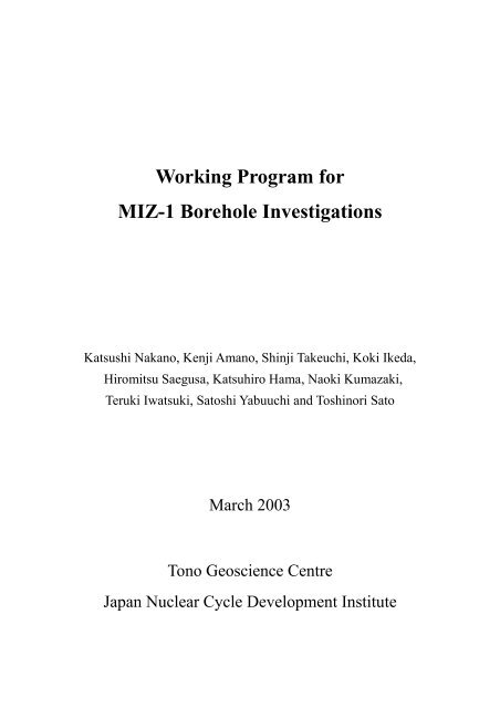 Working Program for MIZ-1 Borehole Investigations(PDF