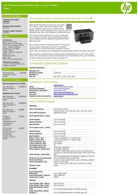 hp photosmart premium instruction manual