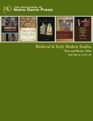 Medieval & Early Modern Studies - University of Notre Dame Press