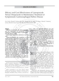 Efficacy And Cost Effectiveness Of Lansoprazole Versus