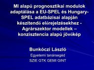MI alapú prognosztikai modulok adaptálása a EU-SPEL és Hungary ...