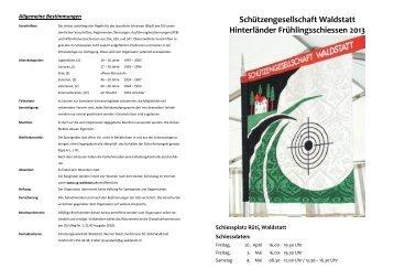 Schiessplan... - Die Schützengesellschaft Waldstatt