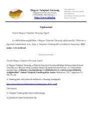 Magyar Talajtani Társaság http://www.talaj.hu Tájékoztató