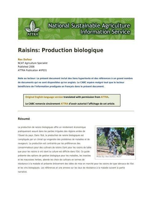 a3827bcf6e1 Raisins  Production biologique - Centre d agriculture biologique du ...