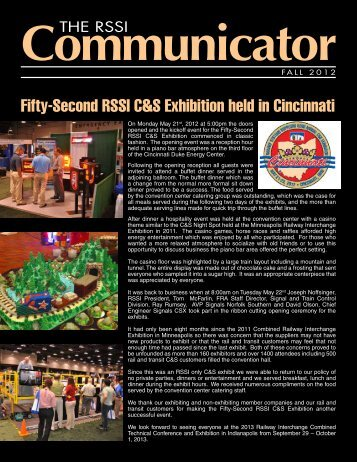Fifty-Second RSSI C&S Exhibition held in Cincinnati - Railway ...