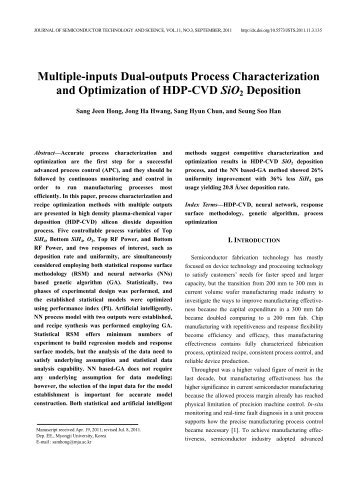 Multiple-inputs Dual-outputs Process Characterization and ... - JSTS