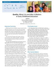 Quality: What it Is and Why it Matters in Early Childhood ... - SCAA