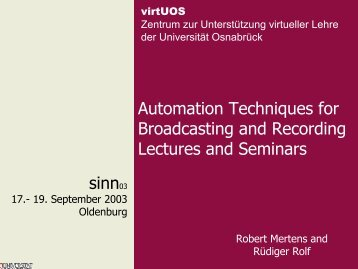 Automation Techniques for Broadcasting and Recording Lectures ...