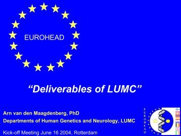 """Deliverables of LUMC"" - Eurohead Project"