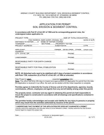 APPLICATION FOR PERMIT SOIL EROSION & SEDIMENT CONTROL