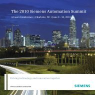 The 2010 Siemens Automation Summit