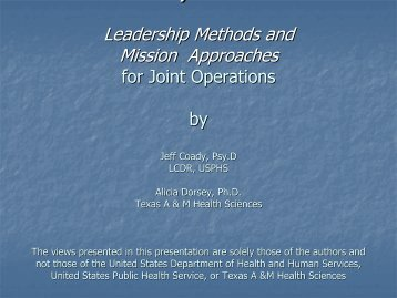 Part 1 - The 2012 Integrated Medical, Public Health, Preparedness ...