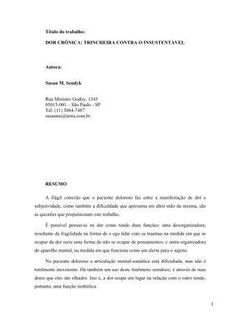 DOR CRÔNICA: TRINCHEIRA CONTRA O INSUSTENTÁVEL ...
