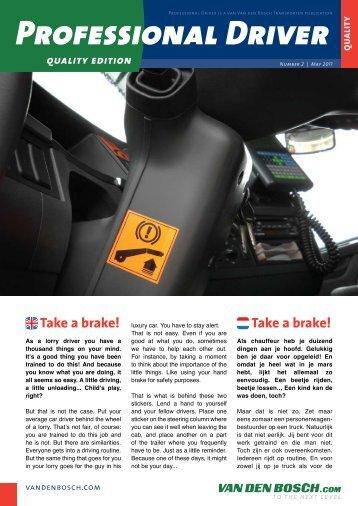 Take a brake! - Van Den Bosch Transporten