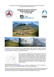 TREKKING IN SOUTH AFRICA'S 'DRAGON MOUNTAINS' 11 ... - UIAA