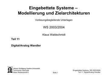 U - Technische Informatik an der Universität Frankfurt - Goethe ...