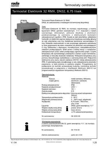 Termostaty centralne Termostat Elektronik 32 ... - Rada Armaturen