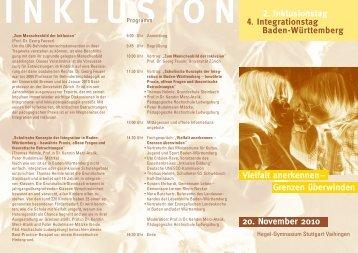 Vielfalt anerkennen – 20. November 2010 Grenzen überwinden 2 ...