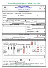 Viral Haemorrhagic Fevers Clinical Risk Assessment Form Version ...