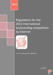 Regulations for the 2012 International keyboarding ... - Intersteno