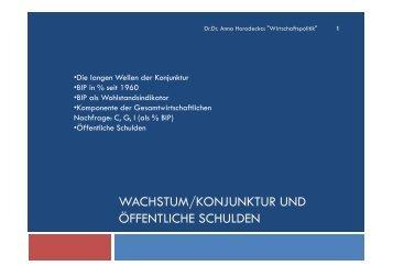 WACHSTUM/KONJUNKTUR UND ÖFFENTLICHE SCHULDEN