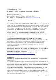 Förderprogramm 2012 für digitale Medien in Forschung, Lehre und ...