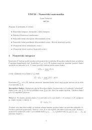 YNUM - Numerická matematika 1 Numerická integrace