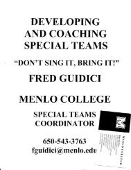 developng and coaching special teams fred gtiidici menlo college