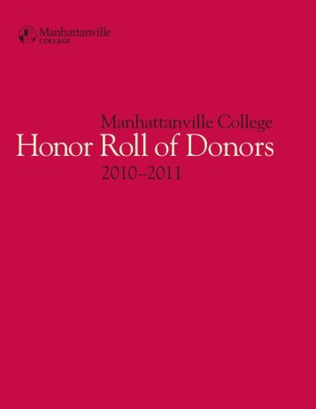 Honor Roll of Donors for 2010-2011 - Manhattanville College