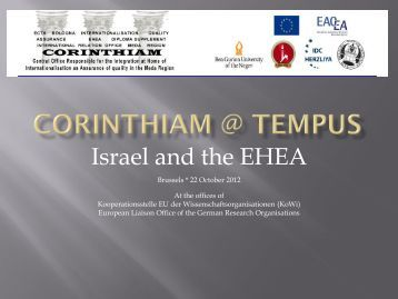 Israel and the EHEA - Tempus Corinthiam