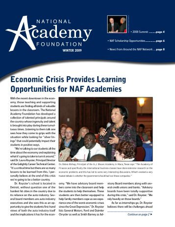 Economic Crisis Provides Learning Opportunities for NAF Academies
