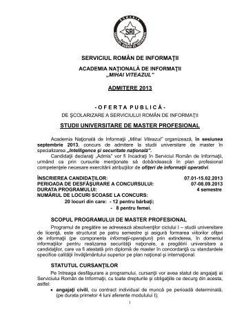 serviciul român de informaţii admitere 2013 studii universitare de ...