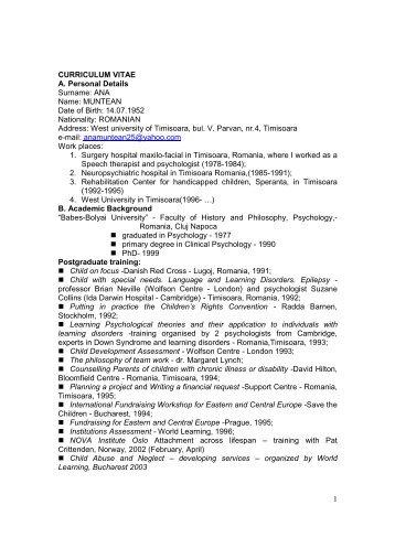 CV Ana Muntean engleza 2011 - Facultatea de Sociologie si ...