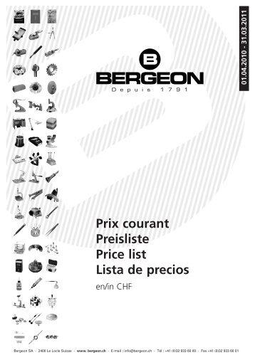 Prix courant Preisliste Price list Lista de precios - Bergeon