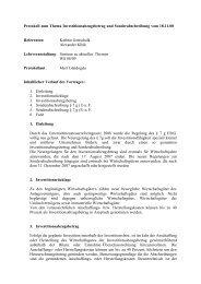 Protokoll zum Thema Investitionsabzugsbetrag und ...