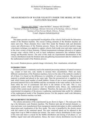Abstract Template - XX Fluid Mechanics Conference KKMP2012