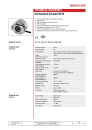 TECHNICAL DATASHEET Incremental Encoder ... - Hengstler GmbH